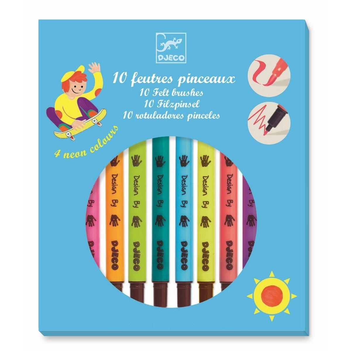 10 Rotuladores Punta Fina-Pincel Colores Pop, Estuche Azul Djeco