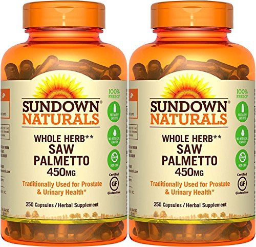 Sundown Naturals Saw Palmetto, 450 mg, 250 Capsules (Pack of 2)