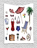 XHFITCLtd Girly Decor Tapestry Wall Hanging, Nostalgic Female Beach Fashion Objects Solar Summer Hot Travel Adventure Palms Concept Picture, Bedroom Living Room Dorm Decor, 60 x 80 Inches, Multi