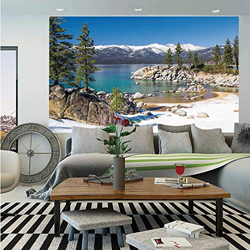 Lake Huge Photo Wall Mural,Circle Lake Harbor Surrounded by Snowy Mountain Countryside Relax Treatment Photo Decorative,Self-Adhesive Large Wallpaper for Home Decor 100x144 inches,Green Blue Blue Mountain Blue Textured Wallpaper