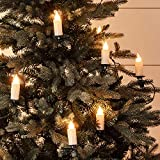 Lights4fun, Inc. 30 Warm White LED Jumbo Flameless Christmas Candle Indoor String Lights with Tree Clips