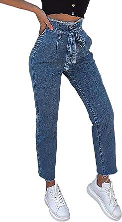 Vaqueros Mujer Elegantes 7 8 Pantalones Vintage Pantalones De Tiempo Libre Cintura Alta Anchas Mode De Marca Moda Vaquero Mujer Pantalones Vaqueros Primavera Otono Amazon Es Ropa Y Accesorios