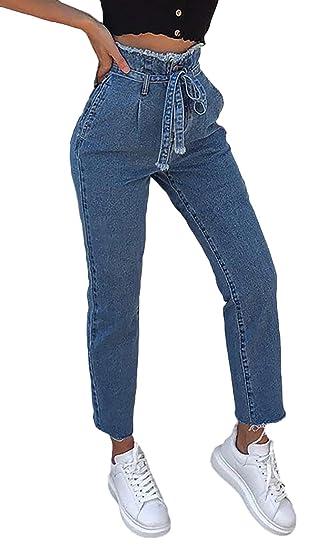 b101ded739d Mieuid Femme Jeans Elégante Mode Vintage Pantalon Jean Taille Haute Large avec  Ceinture Pantalon 7