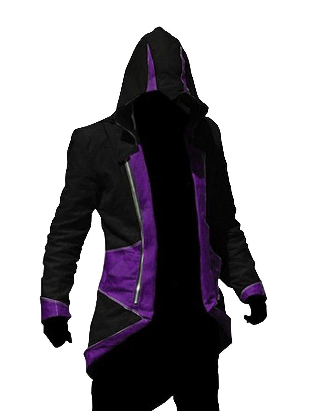 Cos2be Hoodie Jacket Coat (Black&Purple,Men-XL)