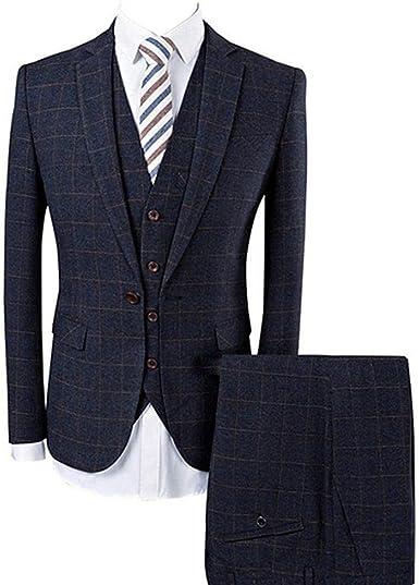 Classic Brown Men 3Pcs Wool Blend Tweed Check Formal Stripe Tuxedos Wedding Suit