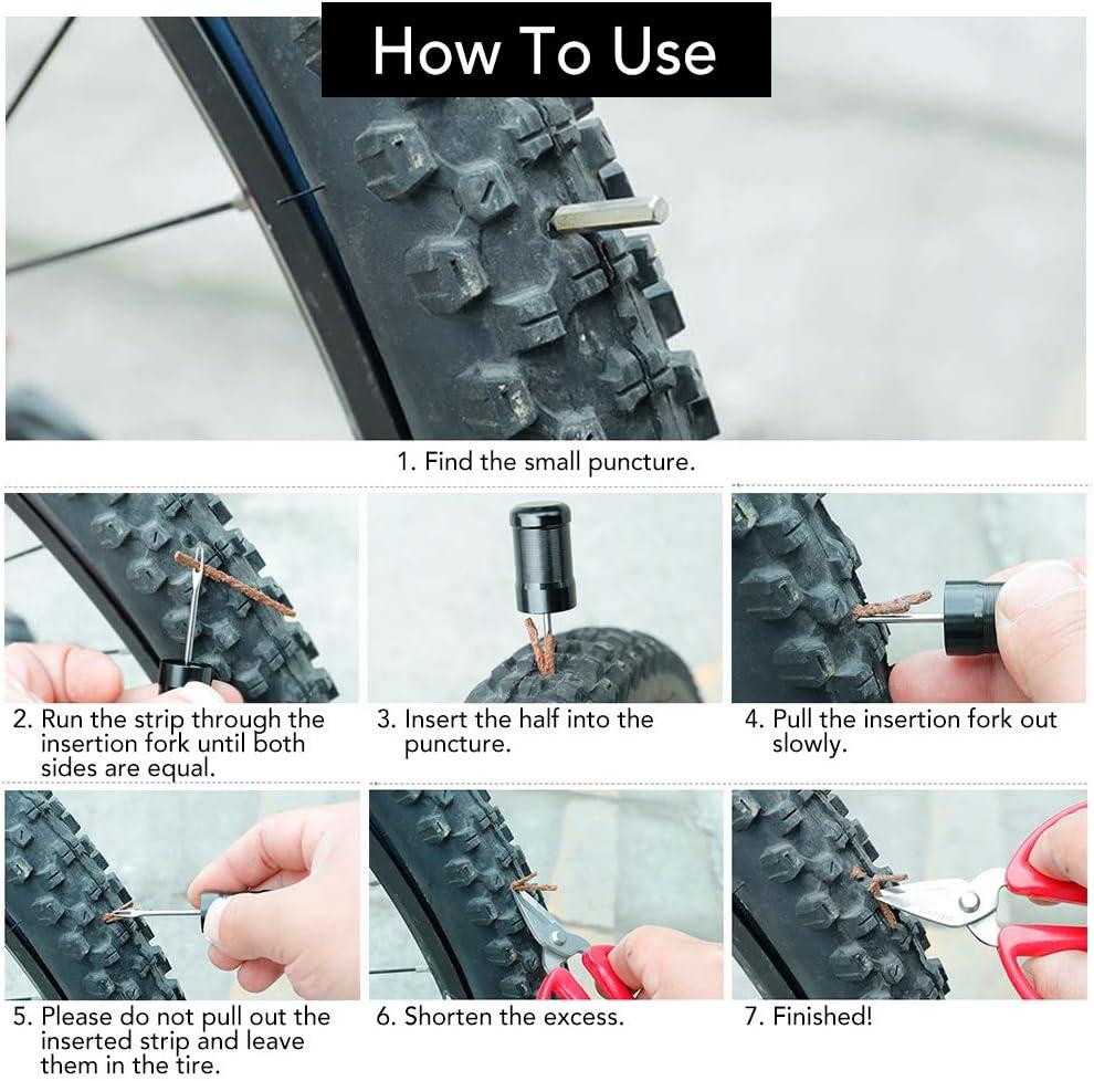 Entweg Tire Repair Rubber Strip,Tubeless Bicycle Tire Repair Kit Tire Repair Rubber Strips for Mountain Bikes Road Bikes