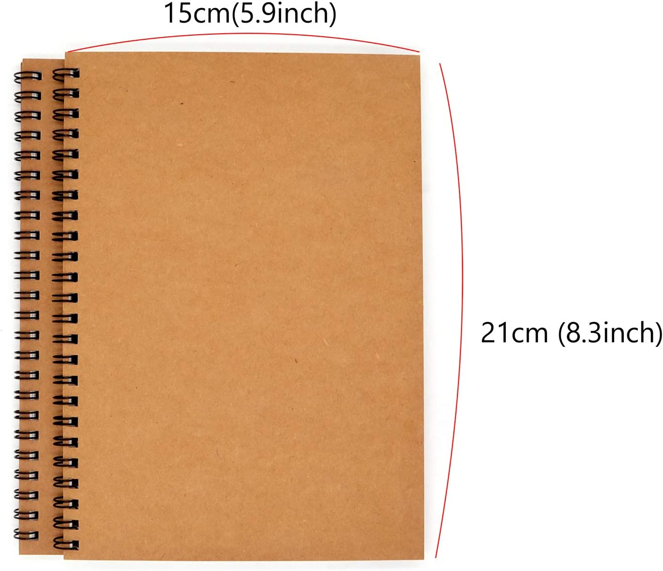 2-pack Kraft A5 Spiral Notebook 100gsm 5.9x8.3inchs 50 Sheets Blank Sketch Book Pad 100 pages