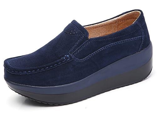 Mujer Mocasines de Loafer Flat Plataforma Casual Primavera Verano Zapatos de Cuña Zapatillas Negro Gris Azul 35-42: Amazon.es: Zapatos y complementos