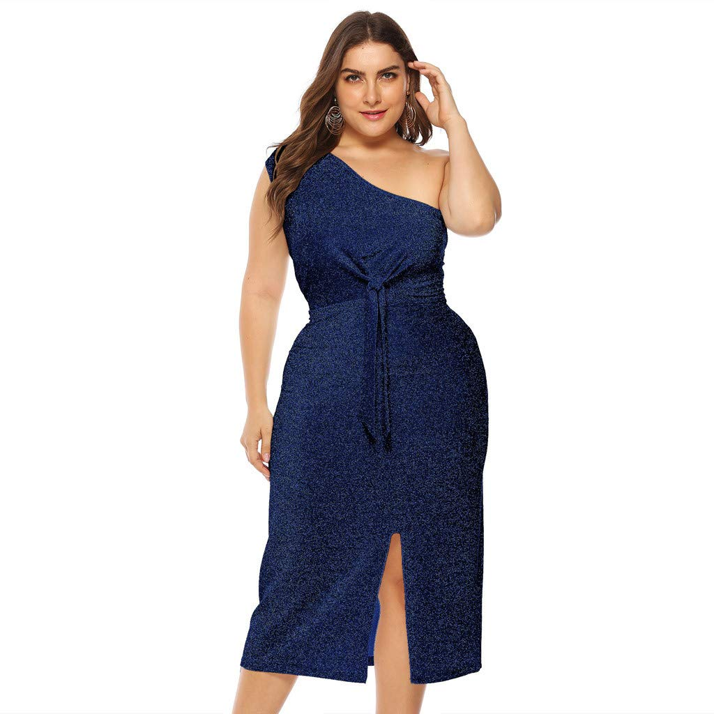 Women One Shoulder Cocktail Dress - Ladies Plus Size Sexy Tie Knot Front Bodycon Split Midi Dresses - Elegant Prom Party Evening Gown (XXXXL, Blue)