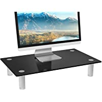 Deals on WALI Tempered Glass Monitor Riser Desktop Stand