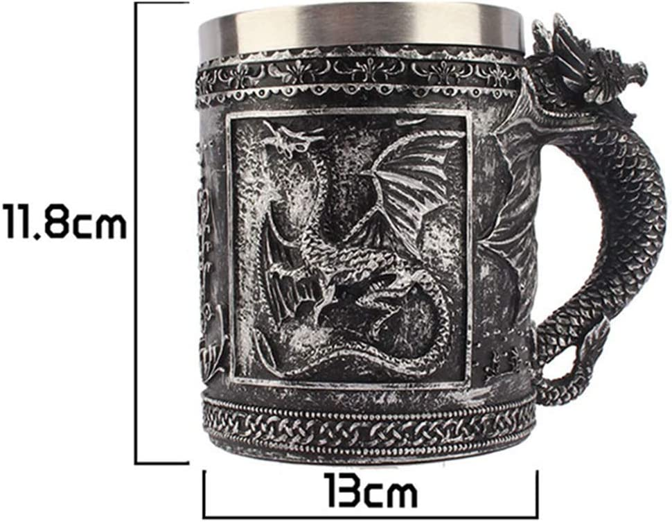 Taisuko Gothic Dragon Tankard Taza de Trabajo de Nudo Celta con Inserto de Acero Inoxidable