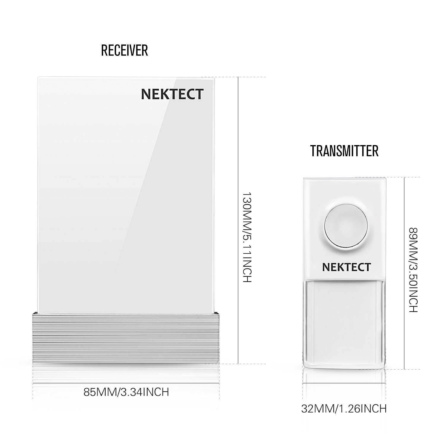 Wireless Doorbell, Nekteck Plug-in Doorbell Chime Battery-Free Kinetic Push Button Transmitter with Over 25 Musical Tones, 3 Volume Levels [150m Range / IP44 Water Proof] - [1 Button & 1 Plugin Chime] by Nekteck (Image #8)