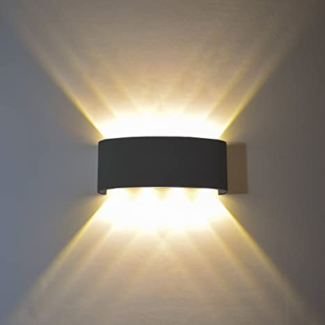 Amazon.com: FLYDEER Modern Wall Sconce Lights 8W LED Room Wall Lights Up Down Aluminium Wall Lighting Lamps For Living Room Bedroom Corridor (Black-Warm Light): Home Improvement