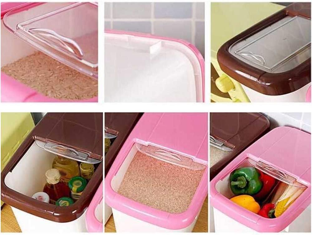 Contenitore per Riso erogatore di Cereali per Cereali 10kg Pink ZqiroLt Scatola portaoggetti Contenitore per Alimenti per Alimenti da Cucina