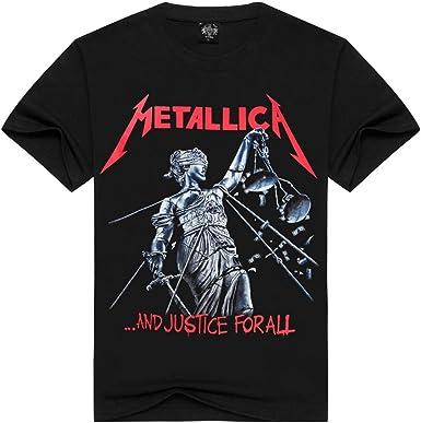 Camisa Negra De Manga Corta con Cuello Redondo para Hombre De Primavera Y Verano Metallica American Metal Core Band Impresión En 3D Camiseta Loose Wild Transpirable Tide Camisa De Hombre (1, S):