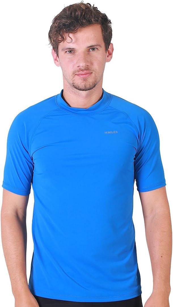 H.MILES Herren Rash Vest Rashguard Kurzarm schwarz Schnorcheln Schwimmen Surfen Tops Tauchen Anzug UV Schutz Beach T-Shirt Shortsleeve