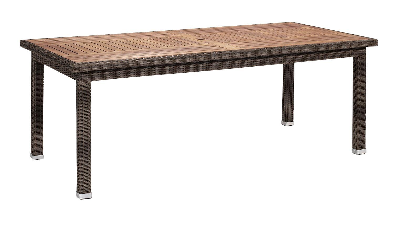 Gartenfreude Tisch Polyrattan, Aluminiumgestell mit Akazienholz, Cappuccino, 200 x 100 x 75 cm (LxBxH)