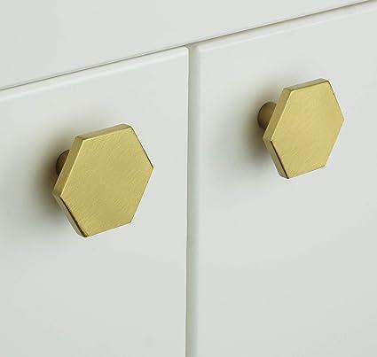 PLANK - Tiradores hexagonales de latón macizo para muebles ...