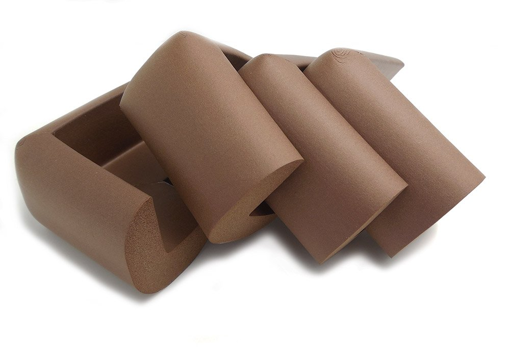 4 x AKORD Baby Safety Corner Protection - Light Brown Desk Table Cover Protector - Safe for Child