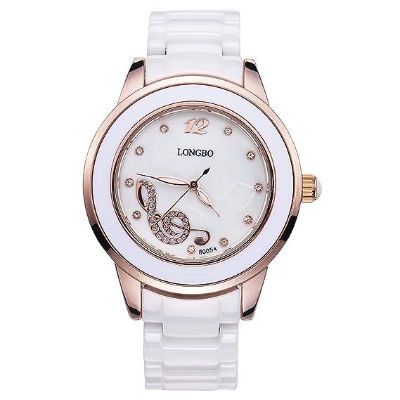 Longbo MUJER lujo cerámica banda pulsera de negocios reloj oro rosa caso música Nota pulsera muñeca