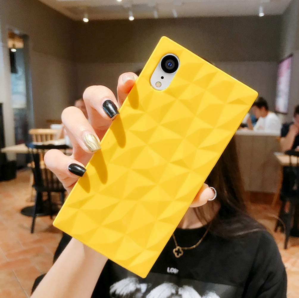 Candy Color Square Phone Cover iPhone XR Cute 3D Fun Lemon