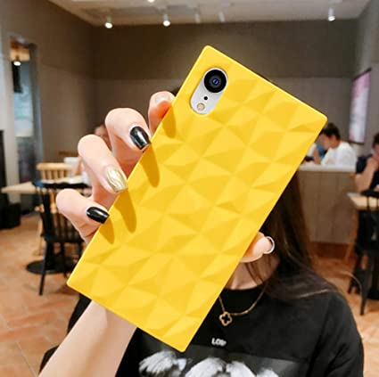 Square Iphone Xr Case For Girls 3d Diamond Pattern Cute Candy Color Shockproof Protective Slim Fit Solid Color Flexible Soft Tpu Case For Iphone Xr