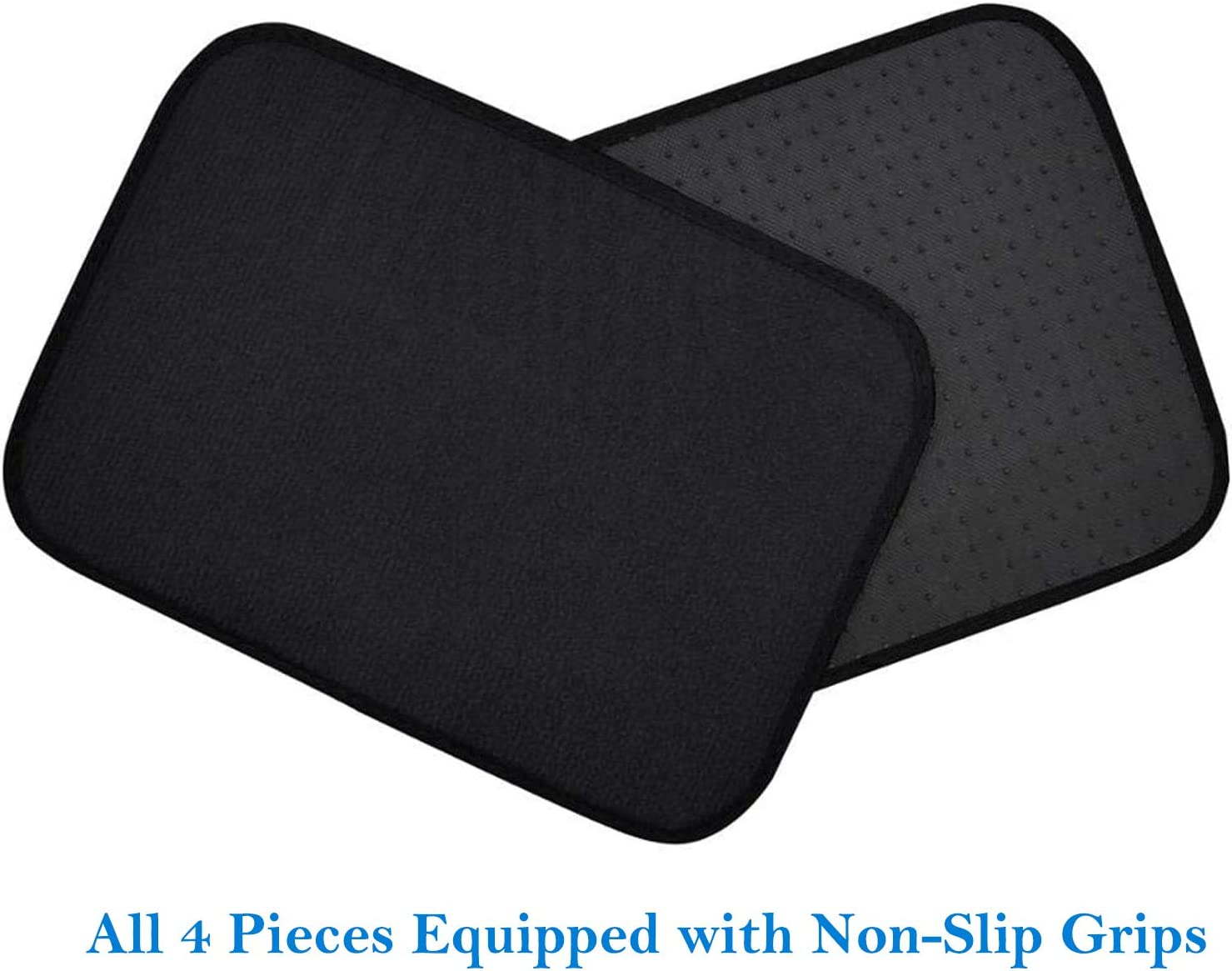 4 Piece Car Mat Universal Non-Slip for Cars SUV Truck and VAN Black Carpet