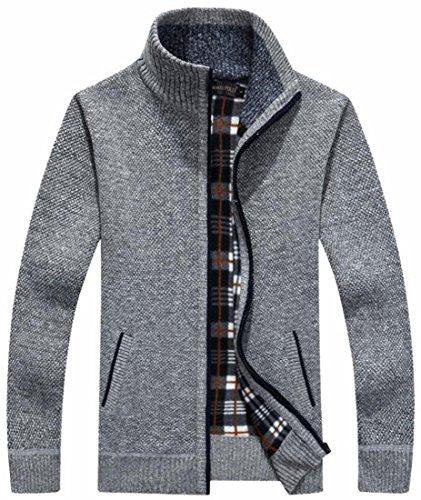 Maglia Cardigan Tasche Outerwear Zip Spessa Full 1 Invernali Ttyllmao Mens 0wYgcxqvfx