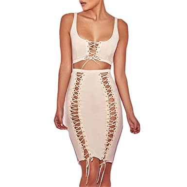 Amazon.com: Hexu bandage vestidos de verão sem mangas lace up conjunto de duas peças dress sexy com nervuras bodycon party dress vestidos: Clothing