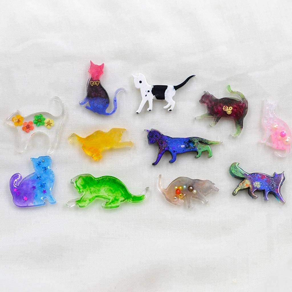 Kcibyvx Silikon Gie/ßform 7 Teile//Satz kleine Tier Katze modellierung epoxidform DIY manuelle Form uv kristall ton ab silikonform
