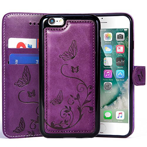 Price comparison product image iPhone 7 Plus / iPhone 8 Plus Wallet Leather Case with 2 in 1 Detachable Slim Case,  Women's Vintage Embossed Floral Butterfly Pattern Vegan Leather Case - Purple