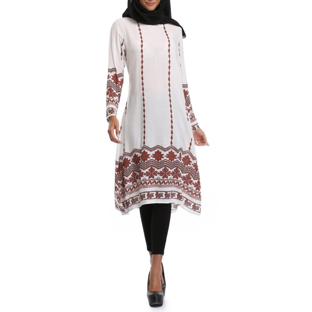 Anglewolf Muslim Women Islamic Splice Floral Printing Plus Size Middle East Long Dress Spring Summer O-Neck Long Sleeve Fashion Patchwork Mid-Calf Dresses