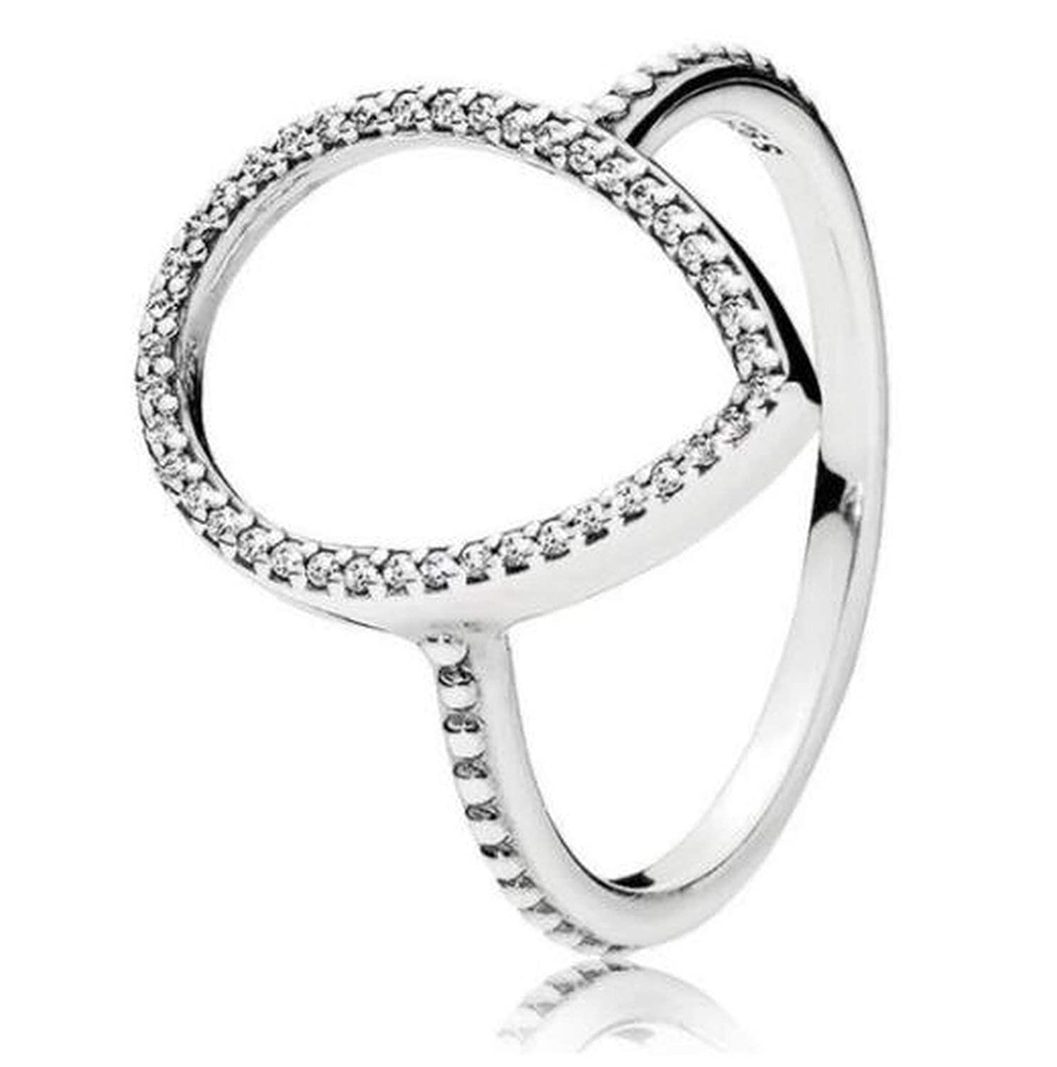 Beauty-inside Original 925 Sterling Silver Ring Pave Logo Signature with Crystal Pan Rings for Women Wedding Party Gift Fine Jewelry