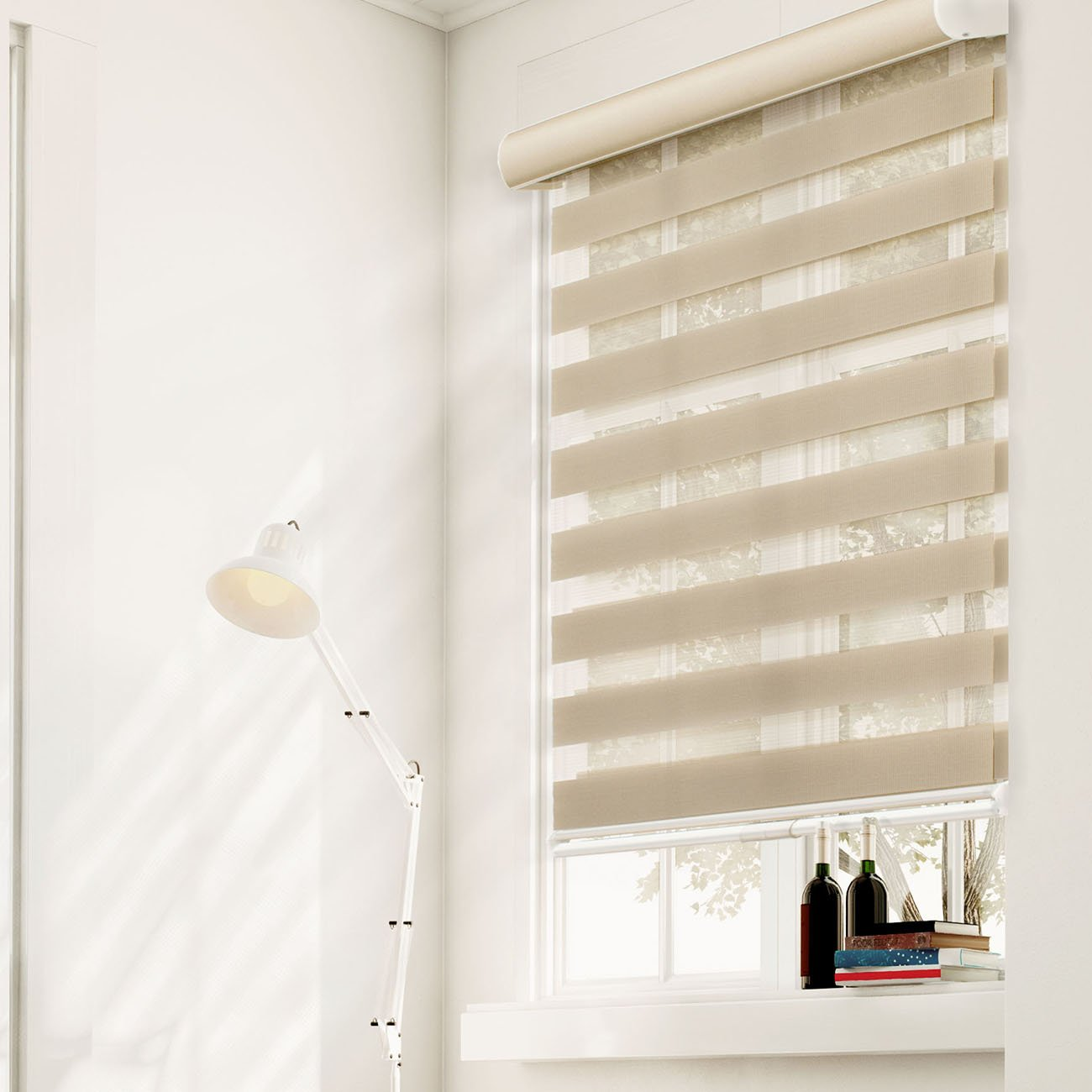 CHICOLOGY Free-Stop Cordless Zebra Roller Shades Dual Layer Combi Window Blind, 62'' W X 72'' H, Striped Khaki Privacy