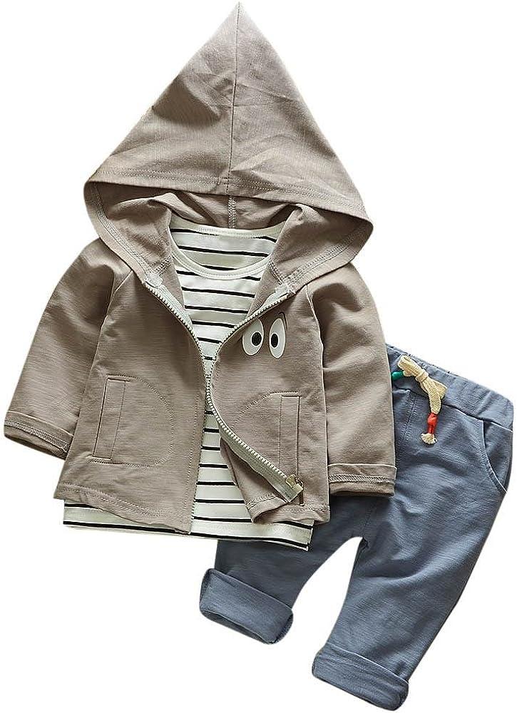 Kapuzenpullover Mantel Hosen Kleider Kinderkleidung Babyausstattung Hirolan 3 St/ück Outfits Kleinkind Kind Bekleidungssets Baby M/ädchen Jungen Streifen T-Shirt