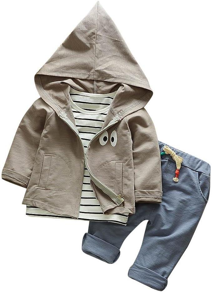 Hirolan 3 Stück Outfits Kleinkind Kind Bekleidungssets Baby Mädchen Jungen Streifen T Shirt Kapuzenpullover Mantel Hosen Kleider Kinderkleidung Babyausstattung Amazon De Bekleidung
