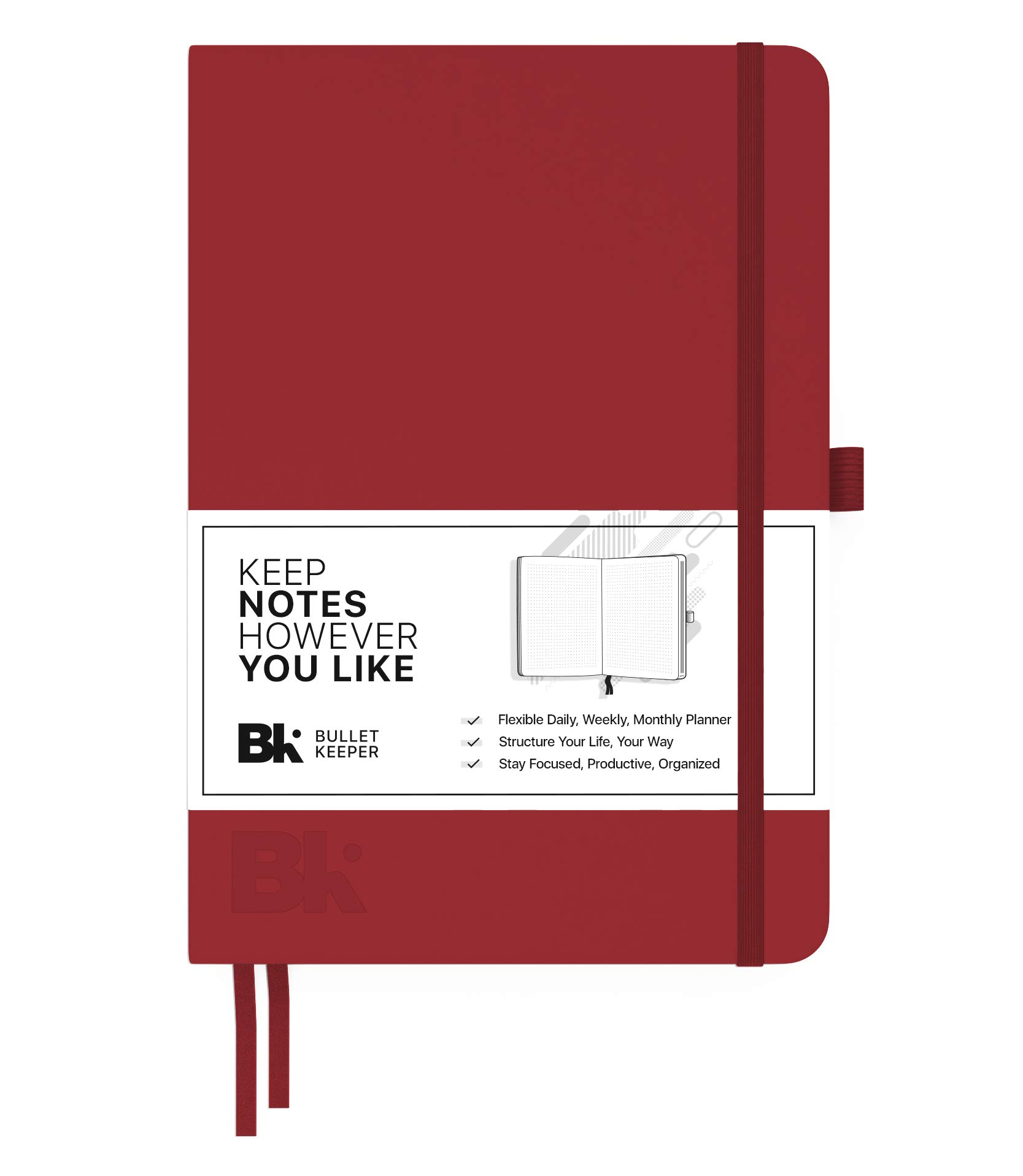 Bullet Keeper Undated Planner - Daily Weekly Monthly Planner. 2018 Agenda w Flexible Structure (5.8x8.3'') A5 Dot Grid Notebook Journal. Hardcover Red Leather w Elastic Closure. 52 Week Version