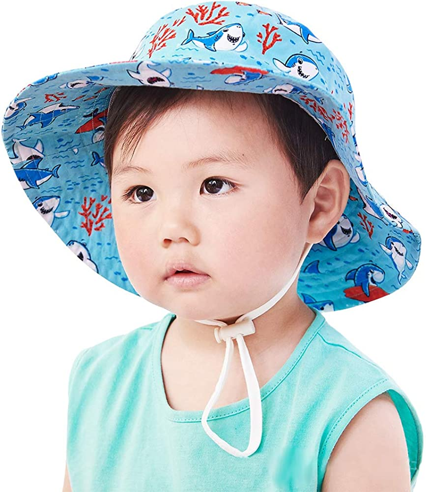 Kids4ever Unisex Baby Hat for Girls Boys Summer Sun Protection Bucket Hat Quick-Dry Anti-UV Beach Fisherman Caps with Adjustable Chin Strap Cartoon Pattern Hats