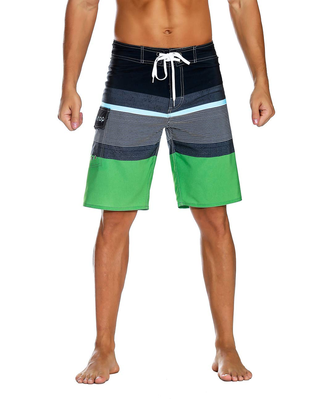 Unitop Men's Summer Holidays Strips Bathing Shorts with Drawstrings Black&green-38