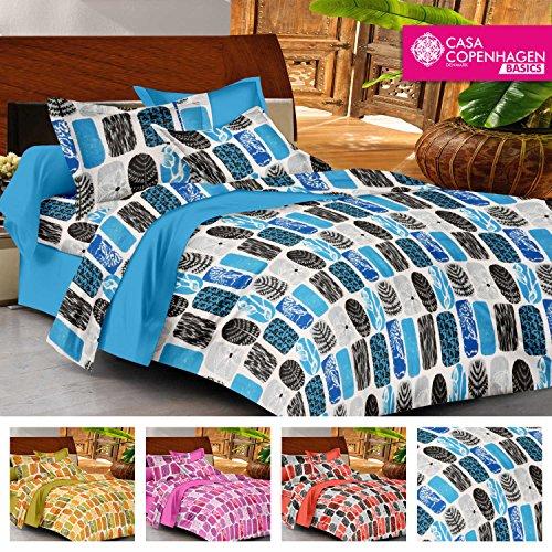 Casa Copenhagen- Basic 144 Thread Count 100% Cotton Double Bedsheet With 2 Pillow Cover- Blue,Black & White