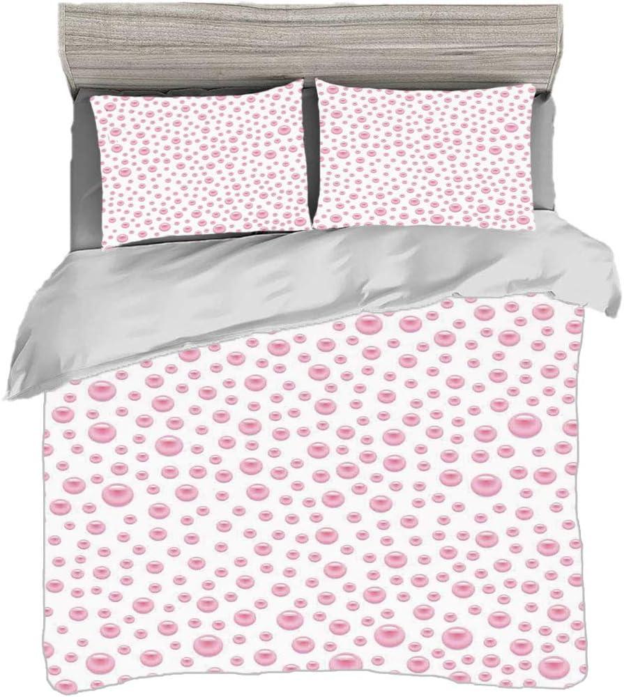 Juego de funda nórdica (150 x 200 cm) con 2 fundas de almohada Perlas Ropa de cama con impresión digital Patrón con perlas grandes pequeñas de color rosa bebé Piedras preciosas Vivero Estampado nupcia