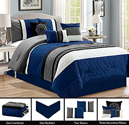 Modern 7 Piece Bedding NAVY BLUE, BLACK, WHITE, GREY Pin Tuck Embroidered  QUEEN Comforter Set with accent pillows