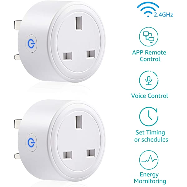 Wifi Smart Plug Alexa,2 Pack Horsky Outlet Switch Wireless Socket Works with Echo and Google Assistant,No Hub Required,Timing Remote Controlling Electronics Device from Anywhere Via Free App
