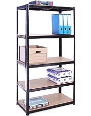 180cm x 90cm x 45cm, Black 5 Tier (175KG Per Shelf), 875KG Capacity Garage Shed Storage Shelving Units, 5 Year Warranty