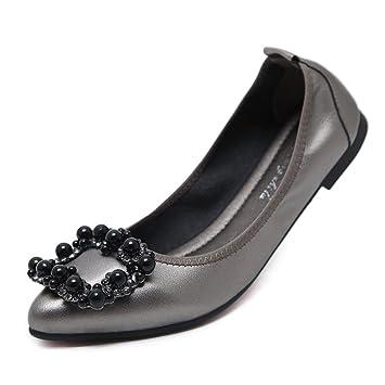 SHINIK Zapatos de mujer de microfibra Mocasines planos 2018 Primavera Otoño de moda Slip-Ons zapatos de guisantes Trabajo formal de negocios de gran tamaño: ...