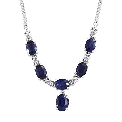 d77354461a4d Image Unavailable. Image not available for. Color  925 Sterling Silver  Platinum Plated Oval Sapphire Necklace for Women 18 quot  Cttw 6.7