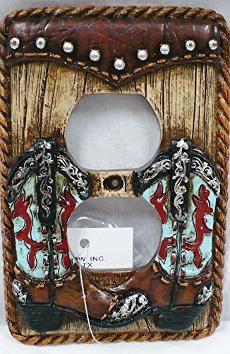 Western Turquoise Boot Double Outlet Wall Cover Plate Duplex Receptical Electrical