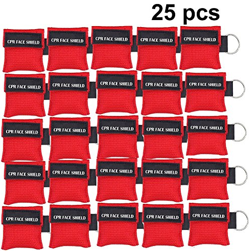 - 25pcs CPR Face Shield Mask Keychain Keying CPR Face Shields Pocket Mask for First Aid or CPR Training (Red-25)