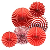 Party Hanging Paper Fans Set, Red Round Pattern Paper Garlands Decoration for Birthday Wedding Graduation Events Accessories, Set of 6