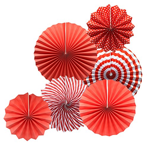 Party Hanging Paper Fans Set, Red Round Pattern Paper Garlands Decoration for Birthday Wedding Graduation Events Accessories, Set of ()
